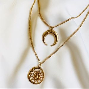Gold Sun and Moon Layered Necklace